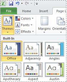 Themes gallery in Excel 2010