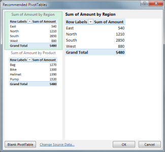 In Recommended PivotTables choose PivotTable layout in Excel