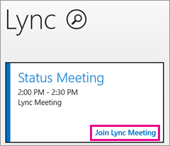 Screenshot of the meetings tile on the lync start screen with the join lync meeting link highlighted