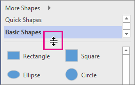 Click and hold to move the divider in the Shapes window