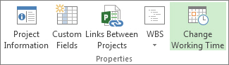 Change Working Time button on the Project tab