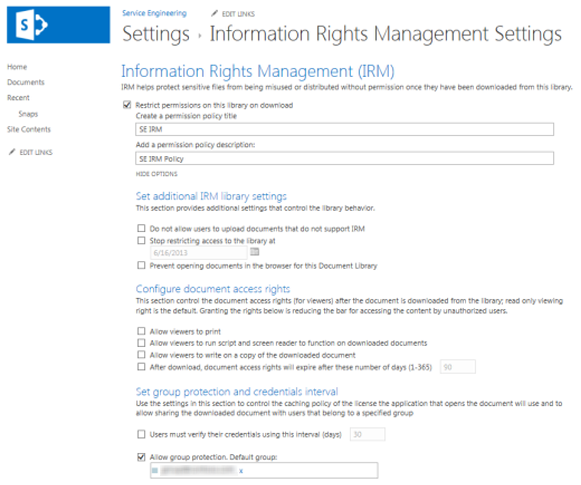 Information Rights Management Settings