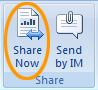 Share an open document from the Office Review tab