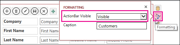ActionBar Visible property on Formatting menu