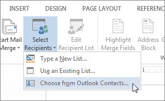 Outlook contacts command