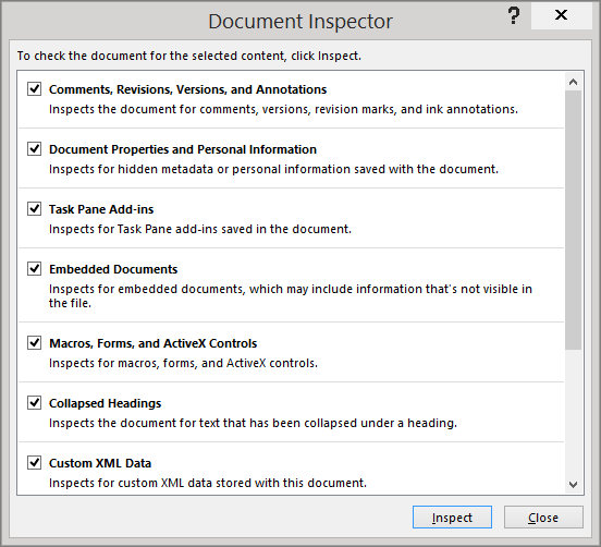 The options in the Document Inspector dialog box are shown
