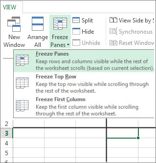Selecting a cell and choosing Freeze Panes freezes rows and columns