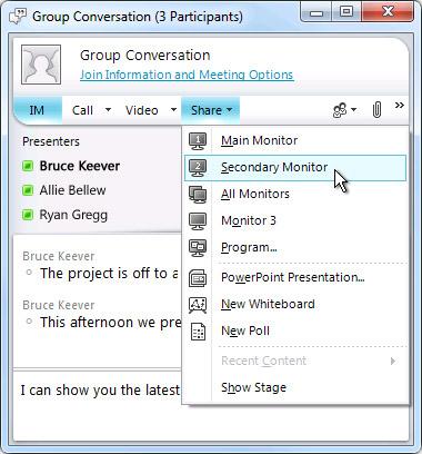 Microsoft Lync window with screen sharing options
