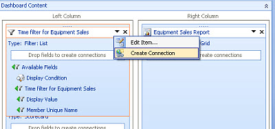 Screenshot of the Create Connections menu option