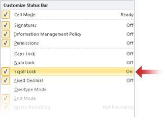 Customize menu for the status bar
