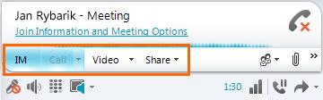 Lync meeting selections
