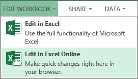 Edit in Excel Online on the Edit Workbook menu
