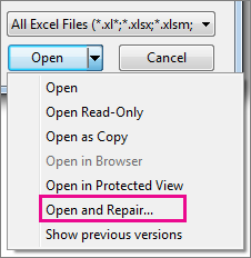 Open and repair command