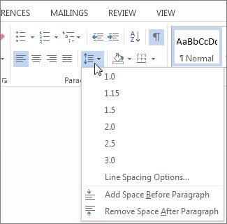 Line and Paragraph spacing menu