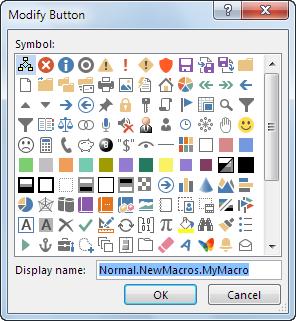 Button options in the Modify Button box