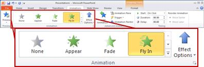 The Animation group on the Animations tab.