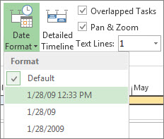 Timeline Date Format button and menu in Project