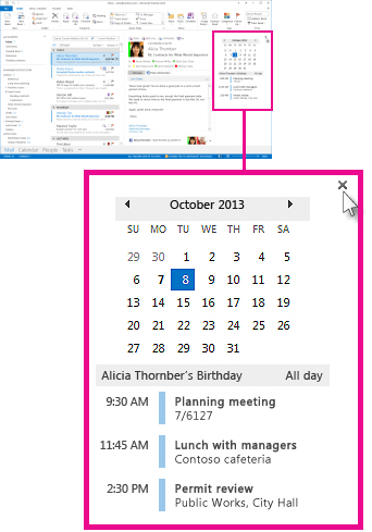 Remove the peek command on the pinned Calendar peek