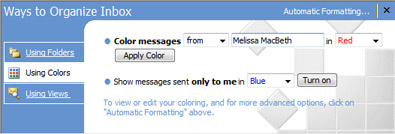 Organize pane in Microsoft Office Outlook 2007
