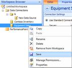 Save Data Source option in Workspace Browser of the  Dashboard Designer UI