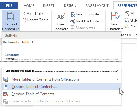 Custom Table of Contents
