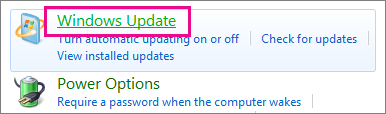 The Windows Update link in Control Panel