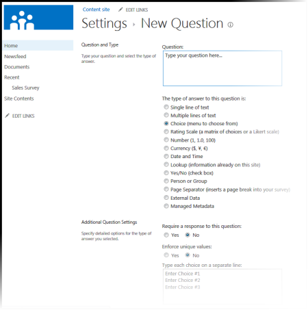 New Question page
