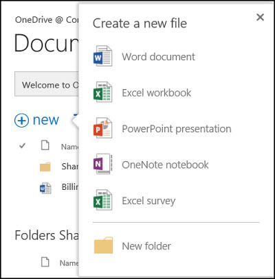 Office Online options that you can use from the New button in OneDrive for Business