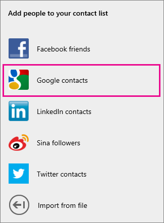 Options for adding Google contacts