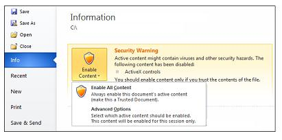 Security Warning, make a trusted document