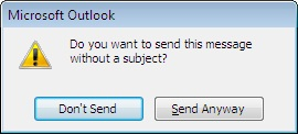 Alert dialog box for a message with no subject