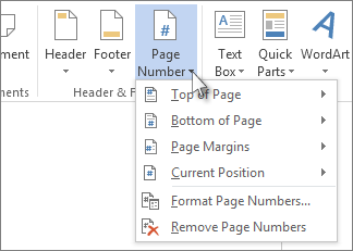Image of the Page Number button and menu in the Header & Footer group on Insert Ribbon.