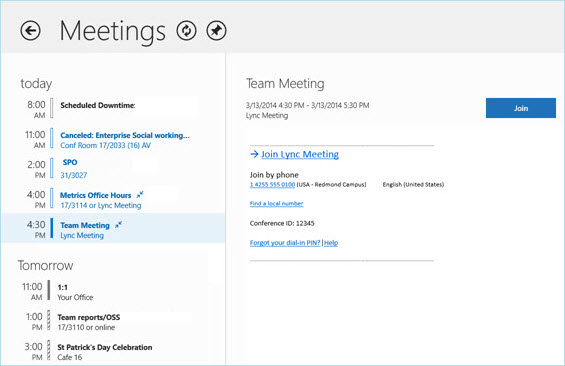 Screen shot of Meeting screen