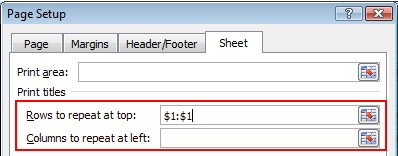 Print titles options highlighted in Page Setup dialog box