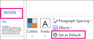 Save as Default option for Word Themes found on the Design tab