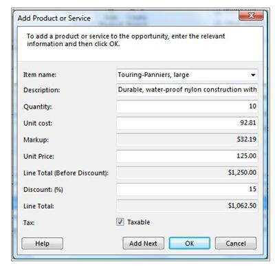 Add Product or Services dialog box