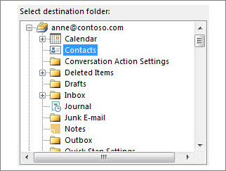 Importing to the Contacts folder