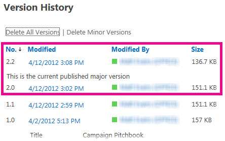Version History with minor version deleted