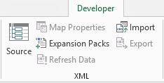XML commands on the Developer tab
