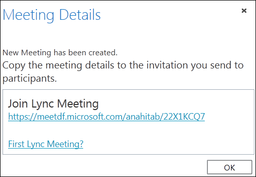 Screen shot of meeting details window
