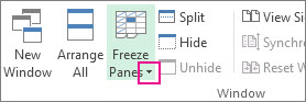 Freeze Panes arrow