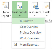 Dashboard menu on the Report tab