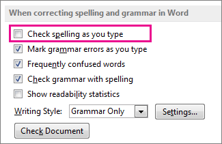 The Check spelling as you type option