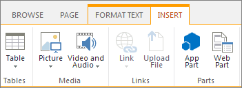 Screenshot of App Part button on the Insert tab