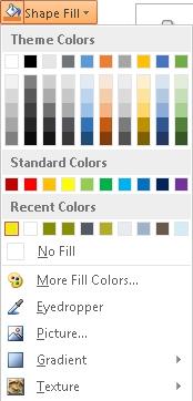 Shape Fill dropdown menu showing the Eyedropper