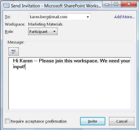 Send Invitation dialog box