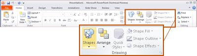 The Home tab, in PowerPoint 2010, looking at the Drawing group.