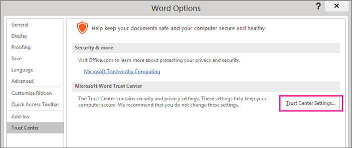 The Trust Center Settings option is highlighted.