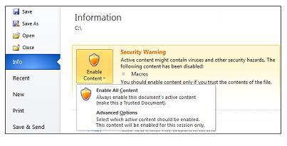 Security Warning area, Always enable