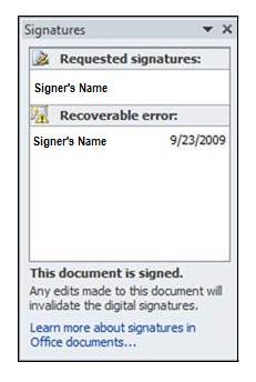 Signatures pane, recoverable error